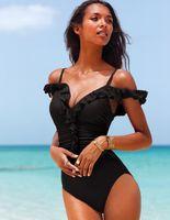Wholesale factory price hot women girls flounced skirt monokini black red sexy straps one piece swimsuit swimwear for woman
