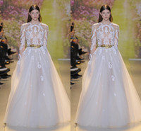 A-Line beautiful collars - New Arrival Gorgeous White Sexy Zuhair Murad Church Wedding Dresses A Line Sheer Long Sleeve Applique Beads Sash Beautiful Bridal Gowns