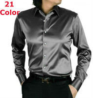 Wholesale New Elastic Silk like Satin Men Wedding Prom Groom Shirts Wear Bridegroom color Tuxedo denim slim fit shirt S M L XL XXL XXXL