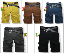Wholesale 2014New MAN Shorts cotton washing more pocket loose leisure shorts men five minutes of pants colors gift mixs