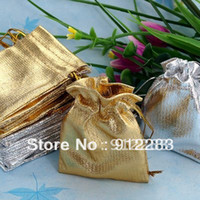 Wholesale Gold amp Silver x7cm Drawstring Organza Pouch Bag Jewelry Bag Christmas Wedding Gift Bag