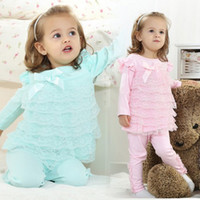 Wholesale 4 Set New Arrivals Baby Girl Clothing Cotton Beautiful Sweet Multistep Lace Group Leisure Suit Outfits For Spring Summer Autumn