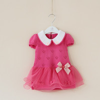 Wholesale 2014 Spring Girls Knitted Yarn Bowknot Flower Short Sleeve Dress Children Clothing Gauze Bow Dresses Pink Yellow Watermelon Red Rose D2075
