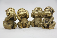 Wholesale Oriental Bronze Statue Sculpture Collectible Collection Four Monkeys T022