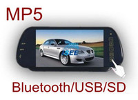 "Best car 7"" Rearview Mirror Monitor with MP5 Player+USB+Bluetooth+Microphone + loudspeaker Free Shipping"
