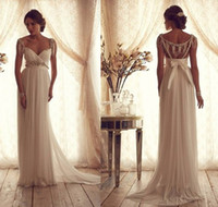 Wholesale Stunning Anna Campbell Wedding Dresses Summer Beading Cap Sleeves Empire Ruched Sheath Backless Chiffon Beach Bridal Dress Gown AN011