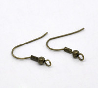 Stud antique stud earrings - Antique Bronze Earring Wire Hooks x18mm Findings