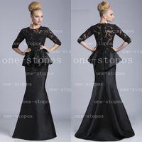 Cheap 2014 Janique Black Prom Dresses Peplum High Neck Satin Half Sleeves Sheer Lace Applique Floor Length Sexy Evening Dresses 510