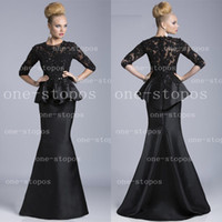 Wholesale Formal Half Sleeve Mother of The Bride Dresses Lace Sequins Peplum Mother Dress Long Satin