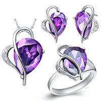 Wholesale 18 K Platinum Plated Fashion Purple Heart Crystal Unique Style Jewelry Set Earring Necklace Ring Size Sales Promotion