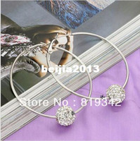 Wholesale paris Silver Plated Wives Hoop Spike Earrings Shamballa disco pave crystal ball bead
