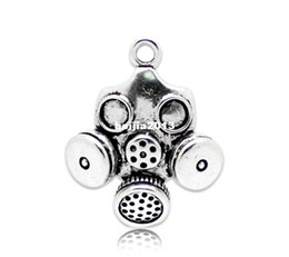 Wholesale Antique Silver Tone Gas Mask Charm Pendants x28mm Jewelry Findings