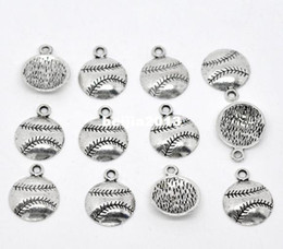 Wholesale Antique Silver Tone Baseball Softball Charm Pendants x14 mm Jewelry Findings Wholesales