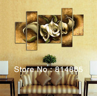 Yes No Yes Thick Textured ,White Calla Lily !Oversized 100% Handmade Modern Flower Oil Painting On Canvas ,Top Home Decoration JYJHS072