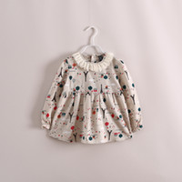 Wholesale 2014 Kids girls tulle spring long sleeve print floral turn down lace collar t shirts baby girl fashion shirts beige blouse tops