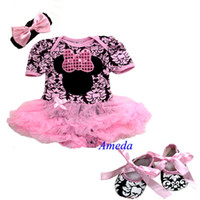 Wholesale 2014Baby Pink Brown Minnie Mouse Bodysuit Pettiskirt Crib Shoes Headband M