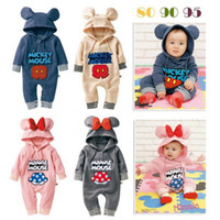Wholesale 2014Mickey Minnie Baby Clothing China for Winter with Long Sleeve and Hood Girls Boys Baby Clothes One Sets Clothes Romper