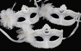 Wholesale Fashion Flowers Mask Party Wedding Lace Mask Dance Mask Costume Venetian Masquerade Flower White Halloween Masquerade Mask