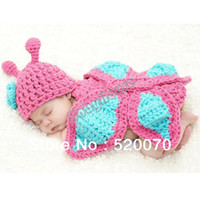Wholesale 20142014 Newborn Photography Props Baby Girls Clothes Romper Butterfly Knit Wool Photo Infant Hat Set Pink amp Blue months