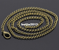 Wholesale Strands Antique Bronze Lobster Clasp Link Chain Necklaces x2 mm quot Findings