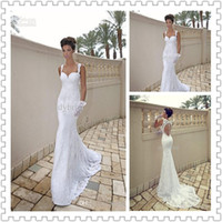 Wholesale 2014 Popular Style Mermaid Wedding Dresses Sexy Spaghetti trap Sweetheart Lace Open Back Wedding Gown New Arrival