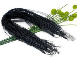 "BJ-128 Free Shipping 100pcs Black Lobster Clasp Organza Ribbon Waxen Cord String Necklaces 17"""