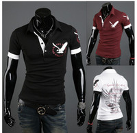 Men V-Neck Short Sleeve Free shipping 2014 Hot-selling The new men's British eagle printed shirts with short sleeve polo shirts size:M-XXL