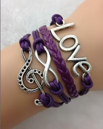 hy1075 infinity bracelets music note bracelet Love multicolors leather bracelets with wax cord 20pcs lot jewelry