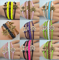 anchor jewelry - Alloy Anchor Rudder Infinity Charm Colorful Leather Suede Cuff Bracelet Wrap Multilayer Wristbands Bangle Jewelry YZ2