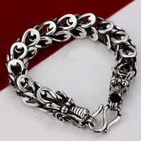 Wholesale New Strange Double Dragon Bracelet Retro Style Silver Personality Chain Men Bracelets Good Gift