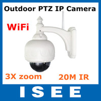 Wholesale PTZ Wireless IR IP CAM WaterProof Outdoor PTZ IP Camera With Optical Zoom And IR Cut Iphone Ipad G Night vision