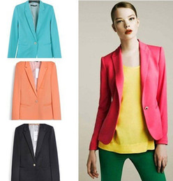 Wholesale 2014 New Women s jacket swilish blazers Candy colors coat lined with striped Z suit Color colors Y7016