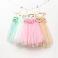 TuTu childrens clothing - Children Slip Dress Girls Childrens Clothing Flowers Tulle Dress Clothes