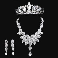 Wholesale Large Clear Crystal Wedding Jewelry Sets Crown Necklace Earrings Silver High Quality Bride Dress Accessories