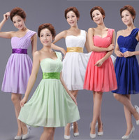 Cheap 2014 NEW Wedding bridesmaid evening cocktail ruched short one shoulder chiffon dress 00035