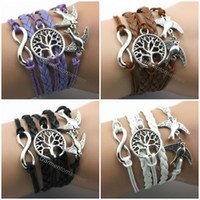 Wholesale 6pcs NEW HOT bracelet handmade leather mens jewelry multilayer combination rope With Infinity Life Tree Double Peace Bird mix