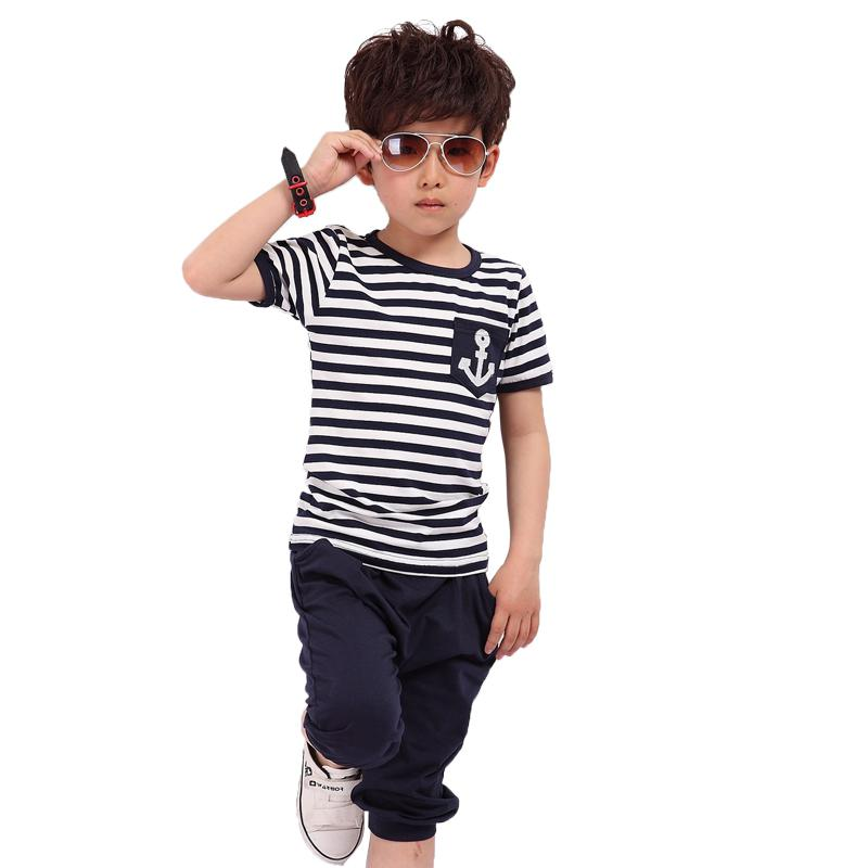 2014 summer navy style boys clothing baby short sleeve t