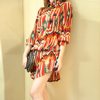 Wholesale 2014 new arrival women s multi color geometric pattern vintage long printed blouse with belt WCX126