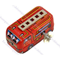 Cheap New Unisex 80's Classic Toys Tin Fire Truck Winding-power For Collection Red 12436