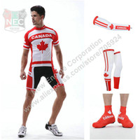 Wholesale UNIQUE MEN S CYCLING SET CANADA TEAM Short Sleeve Cycling Jersey Shorts Sleeves Legwarmer Overshoes Newly Come ON SALE