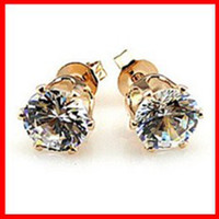 Women's artificial diamond jewelry - Large Zircon Ear Studs MM Artificial Diamond Fashion Jewelry Gold Earrings Valentine Gift Outstanding Quality