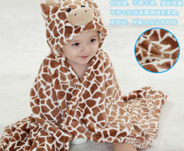 Wholesale New hot sale Cute baby s blanket cute cow design hooded brown