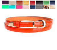 Wholesale coats Whoelsale Office Lady Casual Patent Leather Cowskin Adult Womens Orange Black White Candy Colors Waist Belt