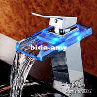Wholesale TB2020 LED LIGHT square Glass Waterfall Bathroom Basin FAUCET chrome polished mixer vanity torneira banheiro cozinha hansgrohe