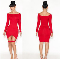 Cheap S M L 2014 New European Fashion Women Sexy Knee Length Red Bodycon Bandage Dress Celebrity Casual Dress WQL916