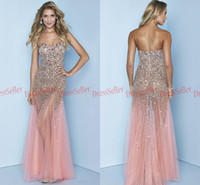 Wholesale 2014 Dazzling Top Quality Sweet heart Mermaid See Through Skirt Tulle Sequins Rhinestones Heavy Beaded Prom Pageant Dresses