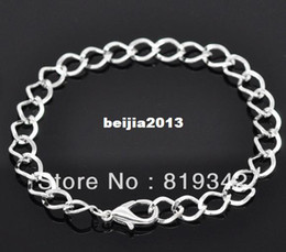 Free Shipping 12 Strands Silver Plated Lobster Clasp Link Chain Bracelets 20cm Findings Wholesale jewelry making DIY