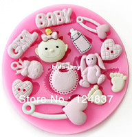 Wholesale 3D Baby soap Silicone mold candy pudding molds Birthday cake decorating cupcake chocolate Fondant mould sugarcraft baking tools