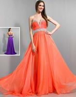 Cheap Princess Elegant Sweetheart Long Wow Prom Dress Pleated Chiffon Beaded Waistline A-line Sweep Train Zipper Formal Party Dresses Gowns 2014