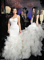 Cheap Cheap 2014 Kim Kardashian Wedding Dresses Lace Mermaid Strapless Ivory Backless Ruched Beach Cathedral Train White Celebrity Bridal Gowns